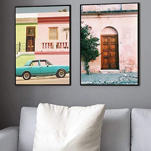 UIOLK Cartel nórdico Retro Coche y Sala de Estar Rosa y Verde Impresiones Lienzo Sala de Estar Dormitorio decoración del hogar