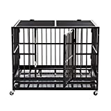 Sliverylake XXL 42' Dog Cage Crate Kennel - Heavy Duty Double Door Pet Cage w/Metal Tray Wheels Exercise Playpen (42', Black)