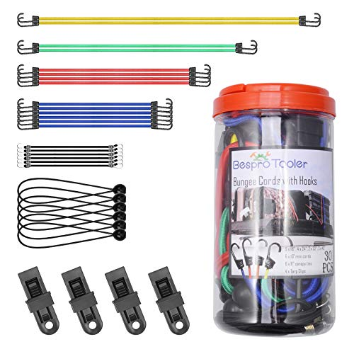 """30-Piece Premium Bungee Cords Assortment Jar, Heavy Duty Bungee Cords with Hooks,Includes 10"""", 18"""", 24"""", 32"""", 40"""", 8""""Canopy/Tarp Ball Ties and Crocodile Mouth Tarp Clips for Bicycle,Boat, Motorcycle"""
