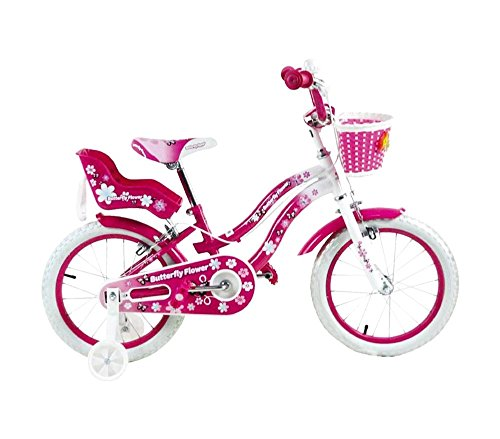 Mediawave Store Bicicletta Butterfly Flower Taglia 16 Bici per Bambina 510156 età 5-8 Anni