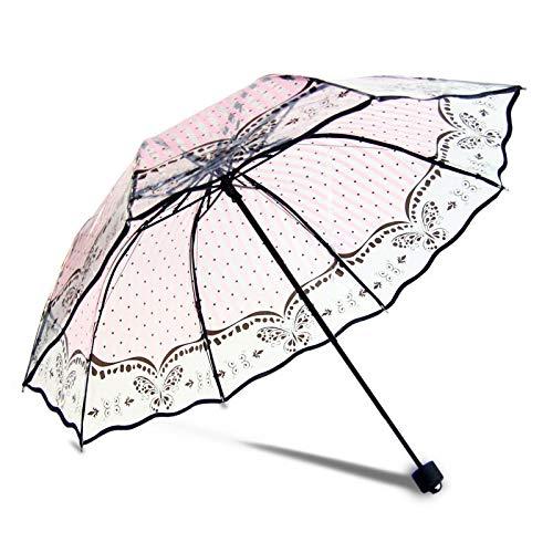 XINSHENG Store Paraguas Muchachas Adolescentes Mujeres Transparente Paraguas Plegable Mujer Claro Paraguas...