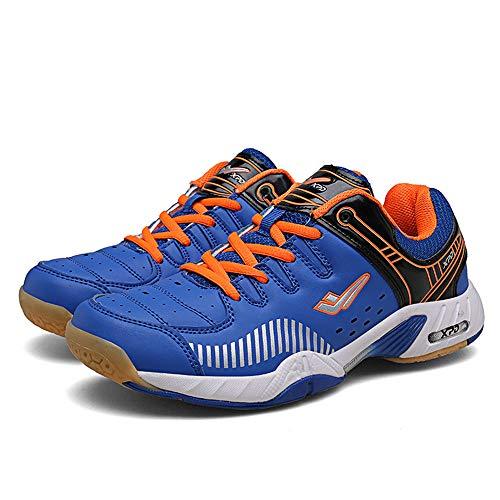 FJJLOVE Männer Und Frauen Tischtennis-Schuhe, Breathable Badminton Schuhe No-Slip-Ping-Pong-Schuh-Athletische Sport-Turnschuhe Bequeme Racquetball Schuhe,Blau,37