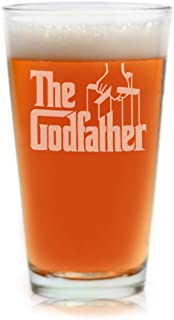 Movies On Glass - Premium Etched The Godfather Movie Engraved Logo Pint Glass 16 Ounces Godparent Gift