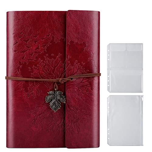 PU-Leder-Tagebuch, Blanko-Seiten, nachfüllbar, Vintage-Skizzenbuch, Reise-Notizbuch, Tagebuch, Geschenk für Mädchen, Jungen, Frauen, Männer, 23,9 × 16,5 cm, Rot