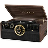 Victrola 6-in-1 Wood Bluetooth Mid Century Record Player with 3-Speed Turntable, CD, Cassette Player and Radio (Espresso)