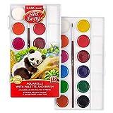 Artberry Set Acuarelas Niños 12 Colores | Acuarelas Para Niños Atóxicas En Caja De Plástico Con Paleta Para Mezclar Y Pincel De Pelo De Poni Incluso | De Erich Krause