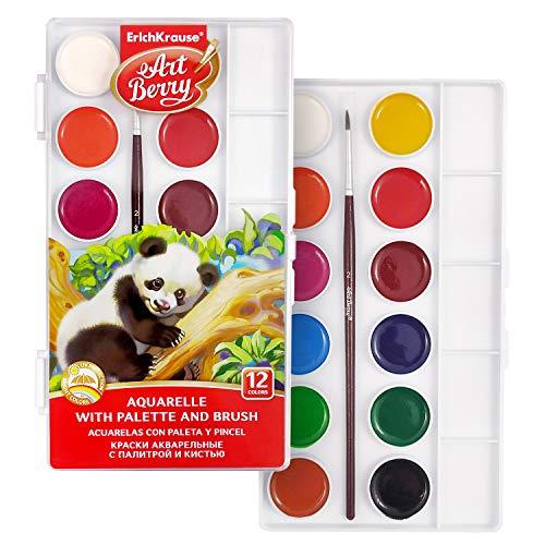 Artberry Aquarellfarben Set 12 Stück | Ungiftige Wasserfarben Im Malkasten | Mischpalette Und Naturhaarpinsel (Pferd) Inklusive | Von Erich Krause