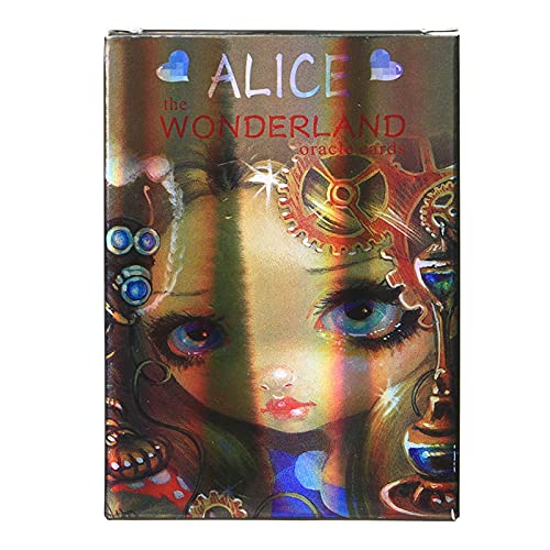 GYNFJK Alice Wonderland Oracle Land Holographic Board Games Divination Table Game Playing Card Tarot Deck Palying Cards Party