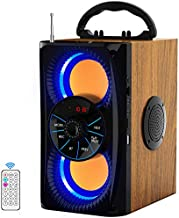 Wireless Bluetooth Speaker with Lights 10W HD Sound and Bass, Wood Body, Four Stereo Loud, Portable Record Speakers for Home, Party, Outdoor, Travel, Gift, 4 Loud Speakers