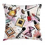 Funda de cojín de moda con diseño de maquillaje y cosmético con lápiz labial perfume, cepillo de esmalte de uñas moderno, funda de almohada cuadrada decorativa, 45,72 x 45,72 cm, color blanco coral