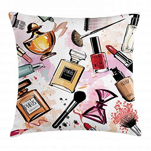 Funda de cojín de Moda para Almohada, patrón de Tema cosmético y de Maquillaje con Perfume, lápiz Labial, Pincel para Esmalte de uñas, Moderno, 45 x 45 cm, Blanco Coral