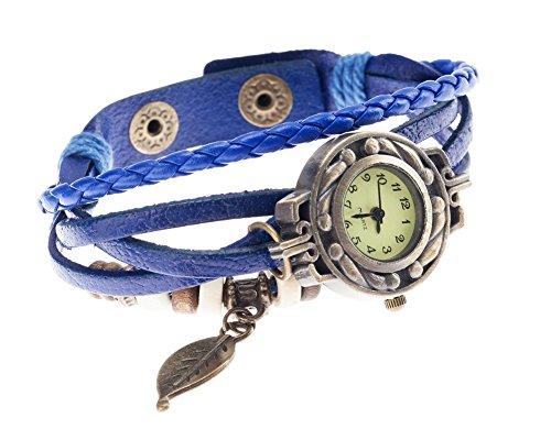 Buen gusto y de la alta calidad reloj de cuarzo para mujer con azul de cuero brazalete para arrollamiento, cinta trenzada, Retro Diseño de cuentas y hojas colgante de bronce de colour VAGA
