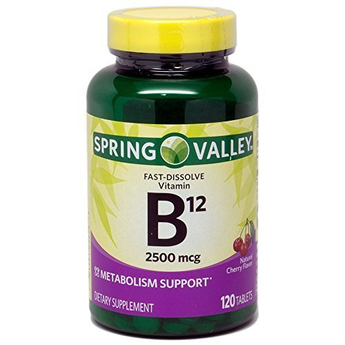 ONLY 1 IN PACK Spring Valley Fast-Dissolve Vitamin B12 2500 Mcg, Metabolism Support, 120 Tablets cherry flavor by Spring Valley