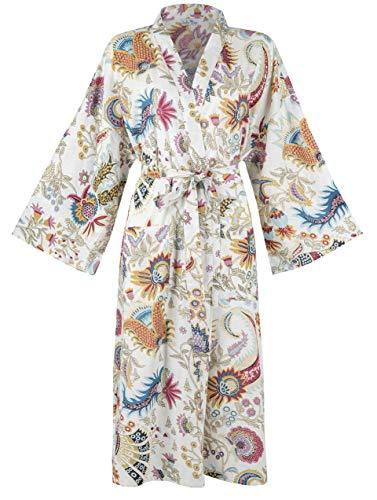 Batas de algodón orgánico para Mujeres y Hombres. Albornoces de Kimono Fresco. Impresos a Mano, cultivados orgánicamente, Hechos éticamente. Talla única 38-46 (White Kimono)