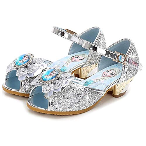 AIYIMEI Girls Princess Sandals Heel Kids Shoes High Heel Party Glitter Crystal Girls Carnival Fancy Dress Party Performance Fancy Dress Dance Ball 24-36 3-11 Years Silver Size: 9 UK