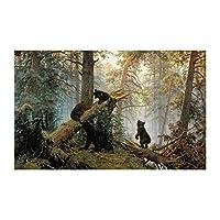 キャンバスプリント壁アート写真現代動物ポスターとプリント壁アートキャンバス絵画鹿と熊の森の写真リビングルームの壁の家の装飾-B_50X70Cm_No_Frame