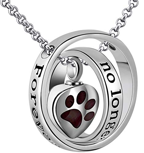 """Urn Necklaces for Ashes """"No Longer by My Side Forever in My Heart"""" Mom Dad Cremation Urn Locket Jewelry (Dog pet urn necklace)"""