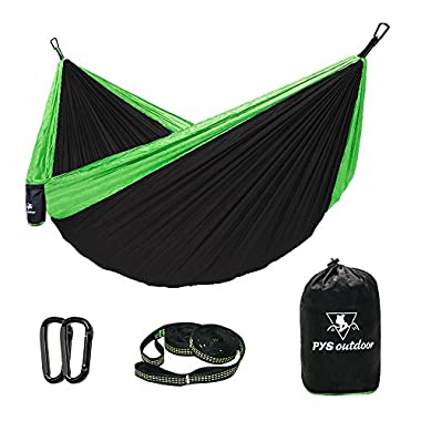 pys Double Hammock Parachute Camping Hammock with Tree Straps with Max 1000 lbs Breaking Capacity,Lightweight Carabiners Included For Backpacking or Hiking (Black + green, Double)