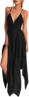 Elecenty Damen Strandkleid Sommerkleid Kleider Tief V-Ausschnitt Irregulär Rock Frauen Ärmellos Mode Kleid Kleidung Backless Partykleid Abendkleider Boho Chiffon Cocktailkleider