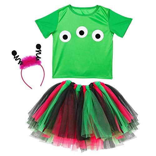 WIDMANN 96538infantil Disfraz Alien, niña, Verde, Rosa, Negro , color/modelo surtido