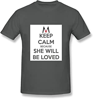 Fengyun Men's Keep Calm Because She Will Be Loved 10 Short Sleeve T-Shirt