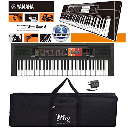 Yamaha PSR-F51 Digital Potable Keyboard With Blueberry KB40 Black Gig Bag