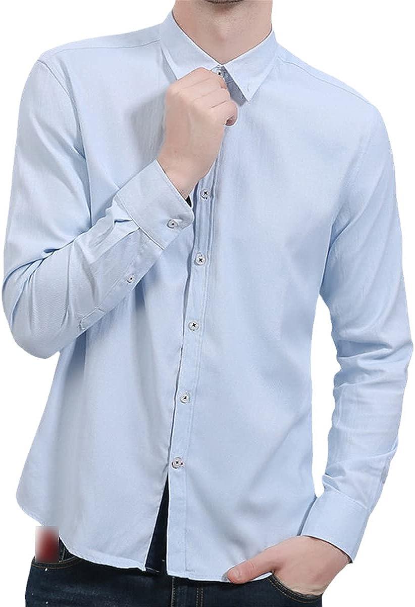 Spring Cotton Long-Sleeved Shirts Men's Lapel Button-Down Formal Shirts Casual Social Shirts