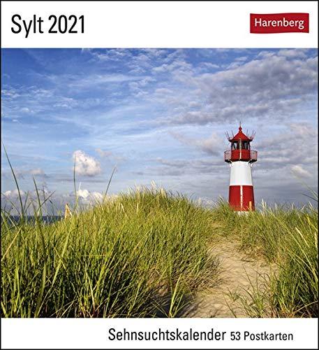 Sylt Sehnsuchtskalender 2021 - Postkartenkalender mit Wochenkalendarium - 53 perforierte Postkarten zum Heraustrennen - zum Aufstellen oder Aufhängen - Format 16 x 17,5 cm