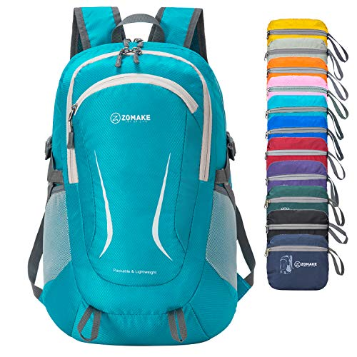 ZOMAKE Lightweight Packable Backpack, Water Resistant Rucksack Foldable Travel Daysack for Men Women Outdoor (Light blue)