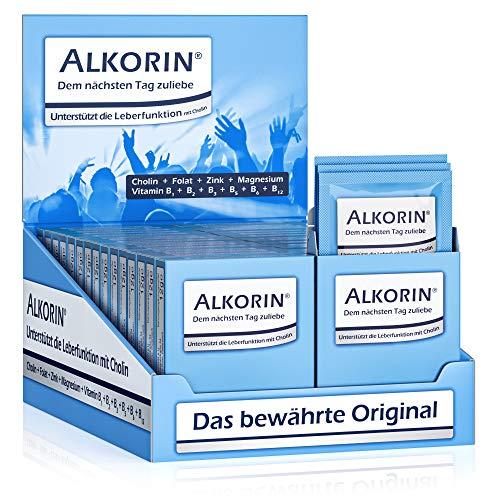 ALKORIN® Aufsteller 30 x 3 Sachets! Dem nächsten Tag zuliebe - Unterstützt die Leberfunktion mit Cholin - Mit Magnesium, Zink, Folat und Vitamin B1 + B2 + B3 + B5 + B6 + B12