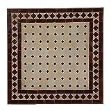 Casa Moro Mediterraner Gartentisch marokkanischer Mosaiktisch 45 x 45 cm Bordeaux Terrakotta mit Gestell H 55 cm Kunsthandwerk aus Marrakesch Bistrotisch Balkontisch MT2023