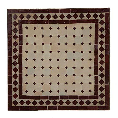 Mesa de jardín mediterránea   Mosaico marroquí ' Rombo burdeos '   45 x45 cm con marco de hierro...