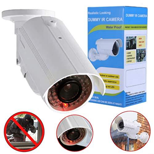 Dummy Kamera, Überwachungskamera Attrappe mit blinkendem LED, in wettergeschütztem Gehäuse, Fake-CCTV-Sicherheitskamera für In- und Outdoor hochwertig