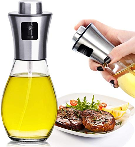 DENSITY COLLECTION Oil Sprayer for Cooking, Refillable Stainless Steel Oil Dispenser with Mini Funnel, Vinegar Glass Spray Bottle for BBQ, Salad, Baking, Grilling, Roasting and Frying, 1 Piece