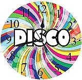 tuobaysj Orologio da Parete Silenzioso Annuncio pubblicitario da Discoteca Arcobaleno Vintage con Orologio da Parete a Strisce Colorate a Spirale vorticosa