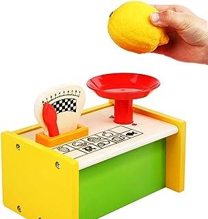 Coxeer Kids Pretend Toy Platform Weighing Scale Pretend Toy Wooden Toy Developmental Toy Pretend Children Play Kitchen Game