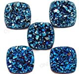 Calvas EYIKA 10 pcs/Lot Beads Wholesale Natural Druzy Stone Square Shape 8mm/10mm Opal Beads DIY for Jewelry Making 13 Colors to Choice - (Color: A12 Blue, Item Diameter: 10mm)