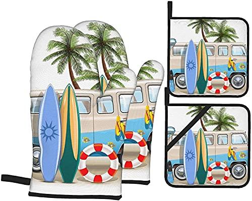 Surf con aletas de buceo Guantes de horno de esnórquel y soportes para ollas Juegos de 4, guantes de horno impresos resistentes almohadillas calientes de poliéster Bbq guantes