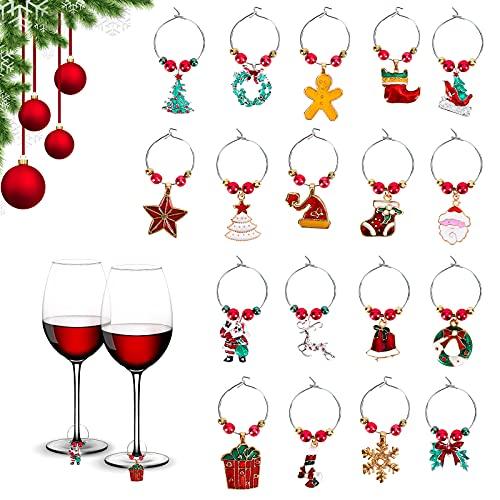Charms per Bicchieri da Vino di Natale 18 Pezzi Etichette per Bicchieri da Vino Champagne Identificatori per Cocktail Simpatici Pennarelli per Bevande per Calici Accessori per Vino Regali per Hostess