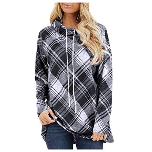 MINIKIMI oversize hoodie dames stijlvol sweatshirt met rolkraag opdruk lange mouwen goedkope capuchon pullover blouse trui bovenstuk voor herfst winter