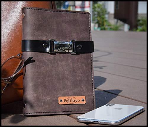 【Polilavo】バイブルサイズ 国産本革 システム手帳 シンプル手帳 営業手帳 6穴金具 名刺ポケット カードポケット ベルト付き