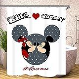 Fgolphd Duschvorhang rot Disney Mickey Mouse 180x200180x180 200x240 Creme Grün BlätterStrand Bunt Badezimmerteppich 4-teiliges Set,Shower Curtains Waschbar (200 x 200 cm,1)
