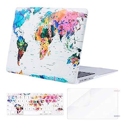 MOSISO Custodia Rigida Compatibile con MacBook Air 13 Pollici A1369/A1466 2010-2017, Cover&Colore Corrispondente Tastiera Cover(EU Layout)&Proteggi Schermo, Mappa del Mondo