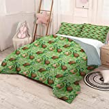 HELLOLEON Nursery Pure Bedding Hotel Luxury Bed Linen Pattern with Cartoon Funny Turtles on Green Spring Meadow with Daisies Polyester - Soft and Breathable (King) Green Brown Sand Brown