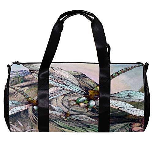 Bolsa de deporte redonda con correa de hombro desmontable, diseño de libélula enjambre de enjambre de libélula, bolsa de entrenamiento durante la noche para mujeres y hombres