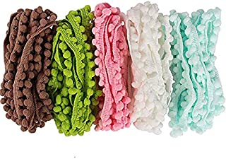 Lace 10yards 10mm Width Pom Pom Trim Ball Fringe Ribbon (5colors/pack 2yards/color)