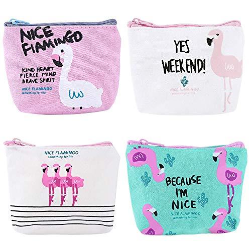 4 Stück Flamingo Leinwand Geldbörse, süße Cartoon kleine Geldbörse mit Reißverschluss, ID-Kartenschlüssel Make-up Comestic Bag, Brieftasche Tasche Geschenk für Frauen Mädchen, 4 Styles