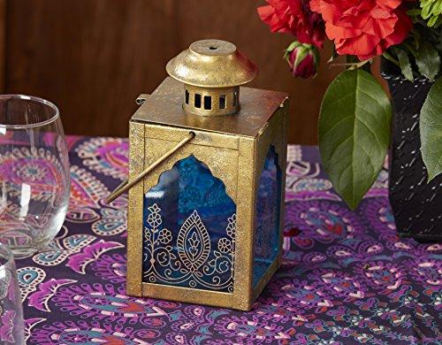 Kate Aspen Indian Jewel Table Lantern, Wedding Decorations, Party Favor, Tea Light Holder, Gold/Blue