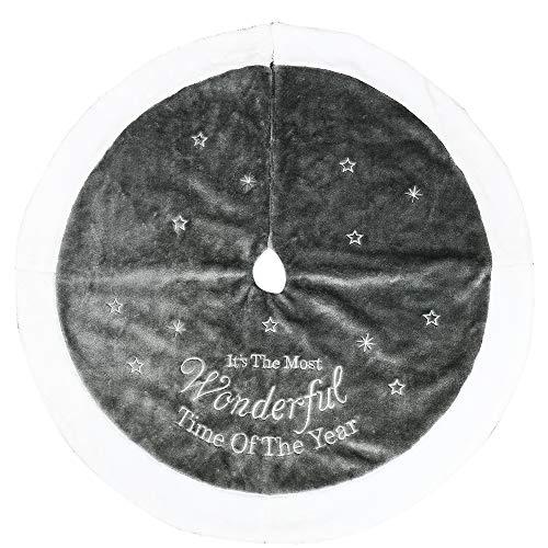 Ghopy Weihnachtsbaum Rock mit Stickerei Silberner Weißer Spitze Plüsch Boden Teppich Dekoration für Haus Neujahr Feierlichkeiten Drinnen und Draußen (90cm)