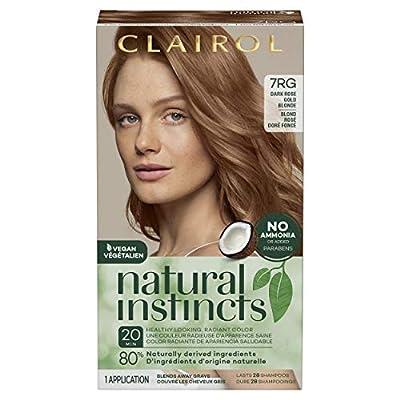 Clairol Natural Instincts Semi-Permanent, 7RG Dark Rose Gold Blonde, Rose Gold, 1 Count